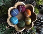 Wool felt pebbles, Rainbow, set of 6, waldorf school toy, waldorf childen gift, montessori rainbow set, alternative Easter gift, felt rocks