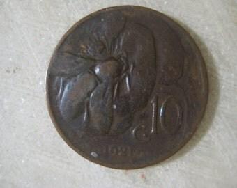 1921, Italy, Copper Coin, 10 Centesimi, Honey Bee and Vittorio Emanuele III (B)