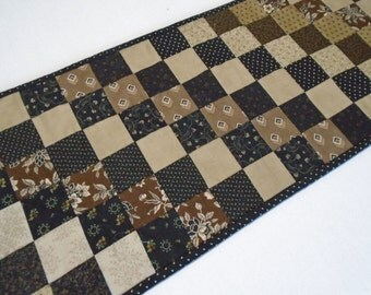 Primitive Quilted Table Runner, Quilted Table Topper in Black Brown Tan, Country Table Runner, Coffee Table Runner, Civil War, Table Quilt