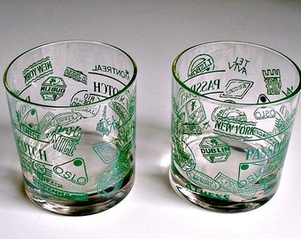 Passport Scotch Glasses Vintage Barware Set of 2 Rocks Old Fashioned Low Ball Glasses Mid Century