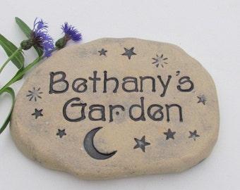 Personalized Garden stone. Crescent Moon and stars. Celestial garden decor. Outdoor Sculpture, natural light terracotta pottery plaque