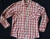 Red Plaid Flannel Vintage 1970's Men's Garage Band Shirt M