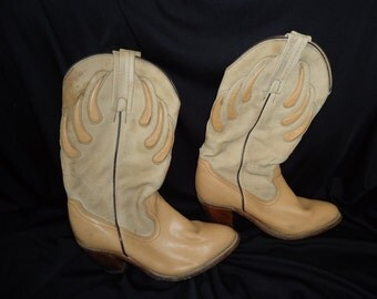 Two Tone Tan Leather FRYE Vintage 1980's Women's COWBOY Boots 7 Western