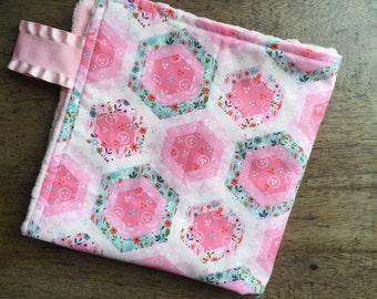 Girl Lovey Blanket, Small Minky Security Blanket, Baby Girl Travel Blanket, New Baby Gift