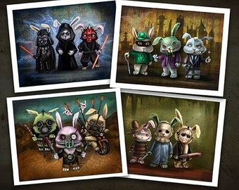"""Evil Bunnies - Four 8.5"""" x 11"""" Prints- SPECIAL DEAL - Horror, Gotham, Sith Lords and Furry Road"""