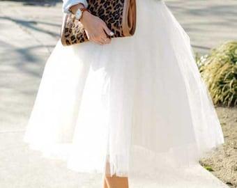 White  tulle skirt.Tea length tulle skirt.  Woman tulle skirt.