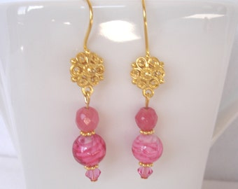 Vermeil earrings with Venetian glass beads and Swarovski crystals, pink fish hook earrings