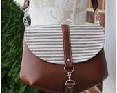 The Cameilla Bag - Crossbody bag - hipster bag - ticking bag - Nautical bag - Navy blue bags -leather cross body bag