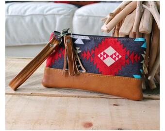 On the go wristlet - wristlet - Navajo wristlet - South Western wristlet bag - Leather wristlet - carry all bag
