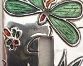 Dragonfly Green Silver Aluminum Metal Single Switchplate Light Switch Plate Cover