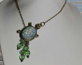 Turtle with Peridot Crystals