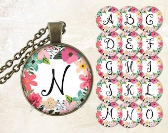 Floral alphabet bottle cap images Monogram digital download Alphabet printable Diy printable Digital collage sheet 1 inch circle