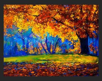 Colorful autumn painting — Landscape Living Room Decor ORIGINAL Oil On Canvas By Ivailo Nikolov — Modern Fine Art