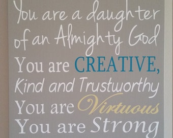 Subway Art Sign My Daughter you are Loved painted sign with Vinyl lettering