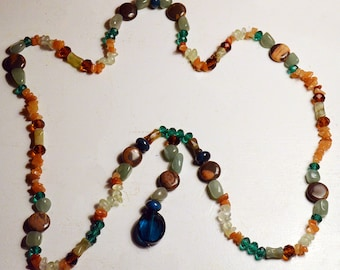 Carnelian and Aventurine Protection Bead Necklace