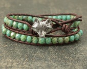 Leather Fox Jewelry Silver and Turquoise Fox Bracelet