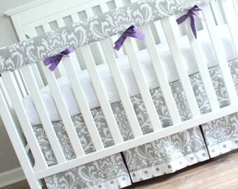 Gray & Purple Damask Crib Rail Bedding set.