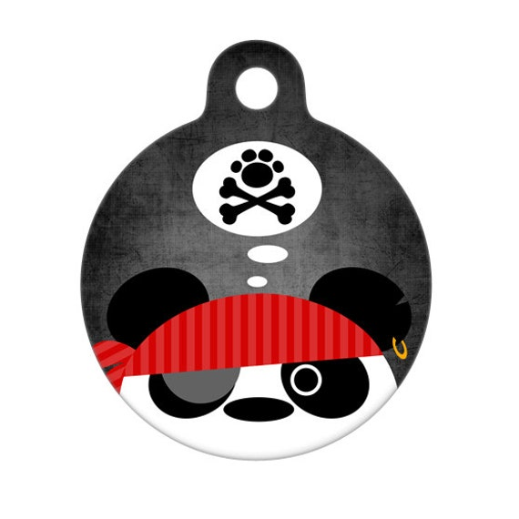 Pet ID Tag - Pirate Panda Pet Tag, Dog Tag, Cat Tag, Luggage Tag, Child ID Tag