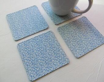 Set Of 4 Fabric Coasters/Tiny Flowers