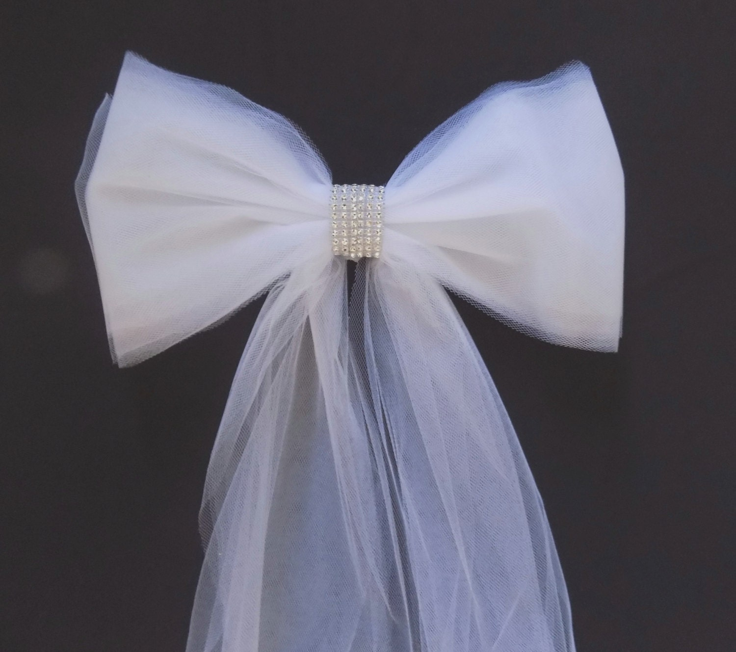 Set of 6 pew bows in tulle with rhinestones pew decorations for Decoration 6