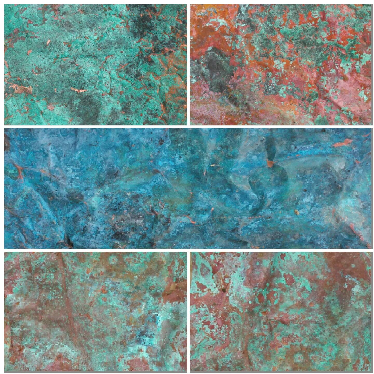 Aged Verdigris Copper Sheet Sample Pack Including Three