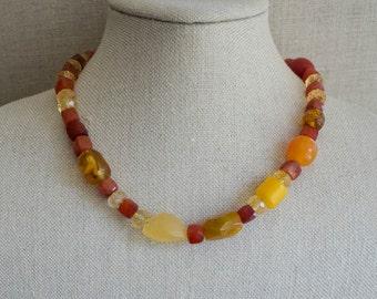 Multi Gem Necklace Warm Citrine Amber Carnelian Red Yellow Orange
