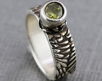 Green Peridot CZ Silver Ring