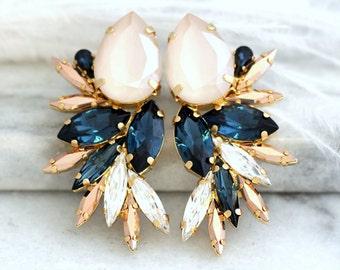 Ivory Blue Earrings, Beige Blue Earrings, Statement Earrings, Swarovski Blue Navy Earrings, Bridal Dark Blue Earrings,Midnight Blue Earrings