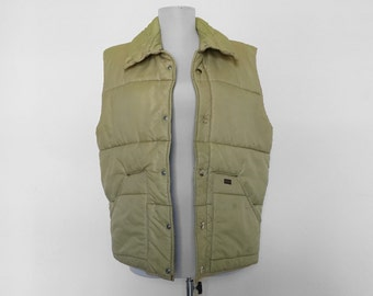 SHOP SALE! Vintage Wrangler Vest / Puffy Vest / Button Up / Tan / Beige / Winter Vest / Hunting Vest