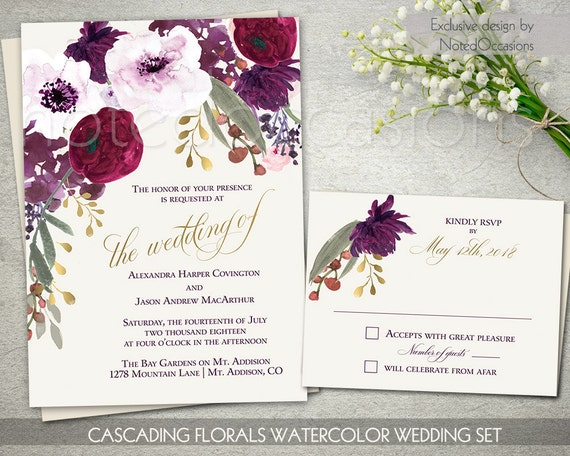 Boho Chic Wedding Invitation Printable Set Bohemian Wedding RSVP
