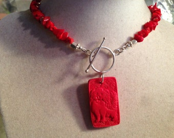 Coral Necklace - Red Jewelry - Sterling Silver Jewelry - Gemstone Jewellery - Cinnabar Dog Pendant - Fashion - Boho - Year of the Dog
