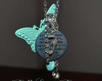 Scripture Silver Chain Necklace with Butterfly and Charms - Ready to Ship!