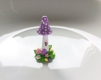 Fairy house in lilac handmade from polymer clay