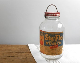 Vintage Large Glass Jar w Lid Bail Handle Staley Sta Flo Starch Paper Label Advertising 1/2 Gal Storage Retro Laundry Room Prop Home Decor