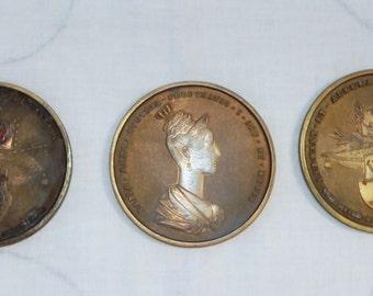 Set Of 3 vintage 60s Reproduction of 1836 Maria Anna Avgvsta FERDINANDI I Imp Et REGIS Set of 3