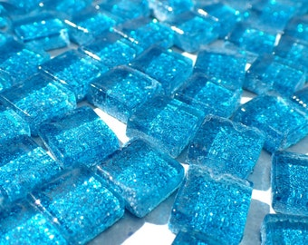 Sky Blue Tiny Glitter Tiles - 1 cm - Use for Mosaic Jewelry Crafts - 100 Metallic Tiny Glass Tiles - Kids Projects