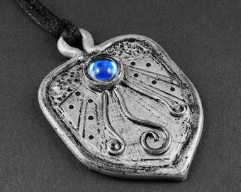 Summer Sale - 10% off - Blue Glass and Silver Polymer Clay Necklace