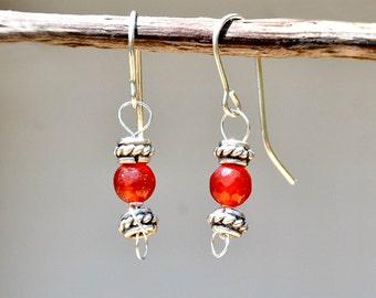 Carnelian Earrings. Carnelian Silver Earrings. Orange Stone Earrings Crystal Earrings Silver Jewelry Stone Jewelry Tangerine Mineral Israel