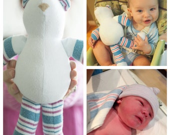 Have Your Baby's Receiving Blanket made into a plush BEAR - Baby Shower Gift (Certificate to have toy made) - New Mom gift