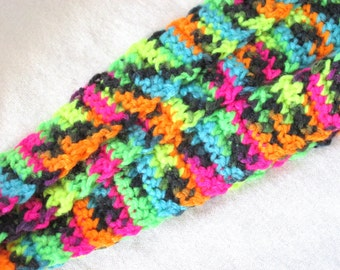 Neon Skinny Scarf - Black Brights - Trendy Hand Crocheted Scarf