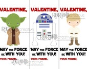 Valentine, May the Force Be With You, PRINTABLE Kids Valentine's