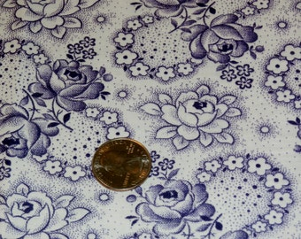 "Vintage French Cotton Fabric 1940s Beautiful Purple Roses and Flowers on White  31 3/4"" x 36"" - 3 Yards Available"