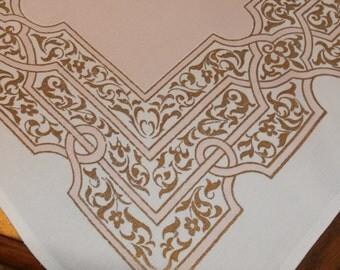 "Pretty 1950s Vintage Tablecloth Pink Metallic Gold 34"" x 40 3/4"""