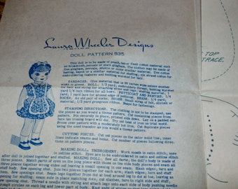 Vintage 1940s or 50s Laura Wheeler Mail Order Pattern 535 for Cute Doll, Uncut