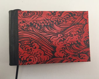 Handmade Sketchbook, Journal with Red Wave Paper and Leather Spine