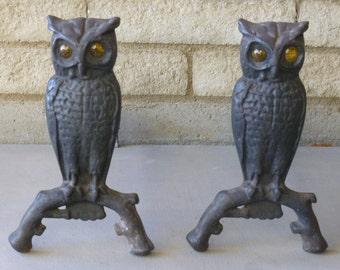 Antique Cast Iron Owl Andirons