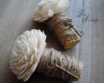 Ships in 5 days  ~~~ Rustic Wine Cork Boutonniere with Sola Flower, Bronze Key, Twine & Burlap