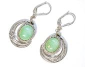 Vintage Sterling Moon Earrings Chrysoprase Italy 800 Spun Silver