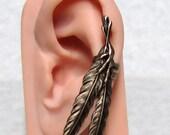 Steampunk Raven Feather Ear Cuff ( left ear )