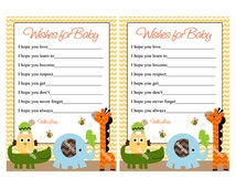 Printable Jungle Stack Animals Elephant Giraffe Turtle Owl Alligator Chevron Wishes for Baby Cards Instant Digital Download